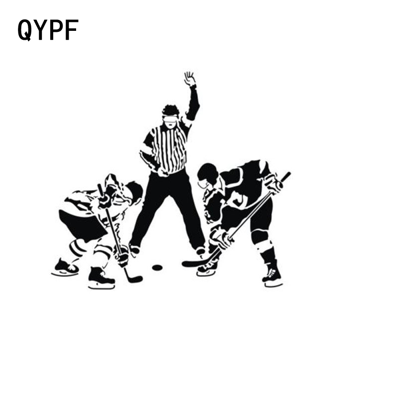 QYPF 15.2cm*13.9cm Car Styling Ice Hockey Games Funny Game Car Stickers Black Silver S2-0602