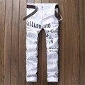 2016 Mens Jeans Nightclub Carta Blanca Pantalones Vaqueros Del Lápiz Flaco Impresión P5070