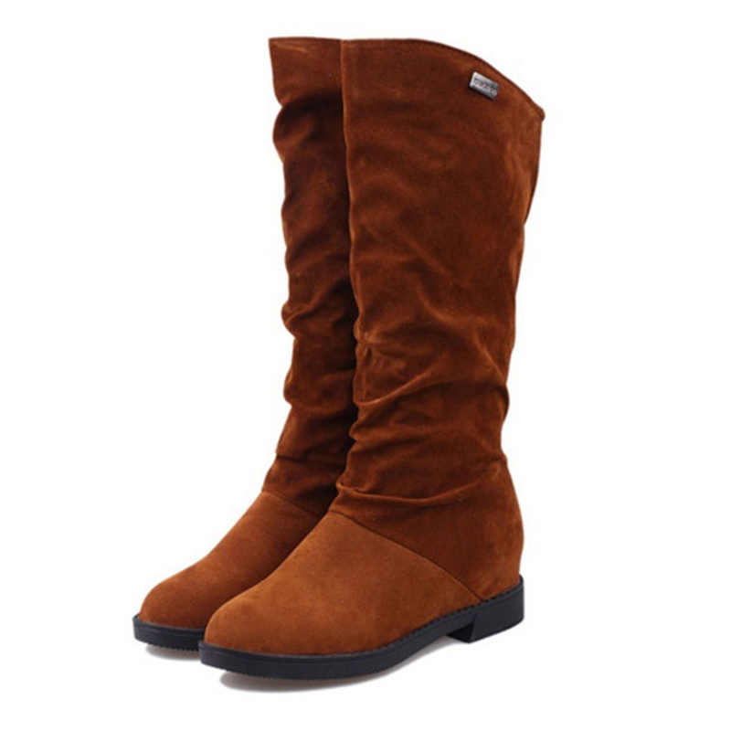 Hot Fashion Autumn and winter Flat with Increased within Longituba women Boots Brown 36