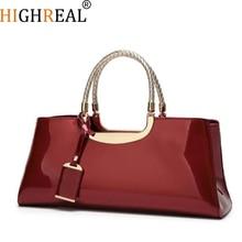 HIGHREAL Luxury Handbags Women Bags Designer Fashion Patent Leather Elegant Hand Bags Shoulder Wedding Bridal Bag Banquet Bolsa
