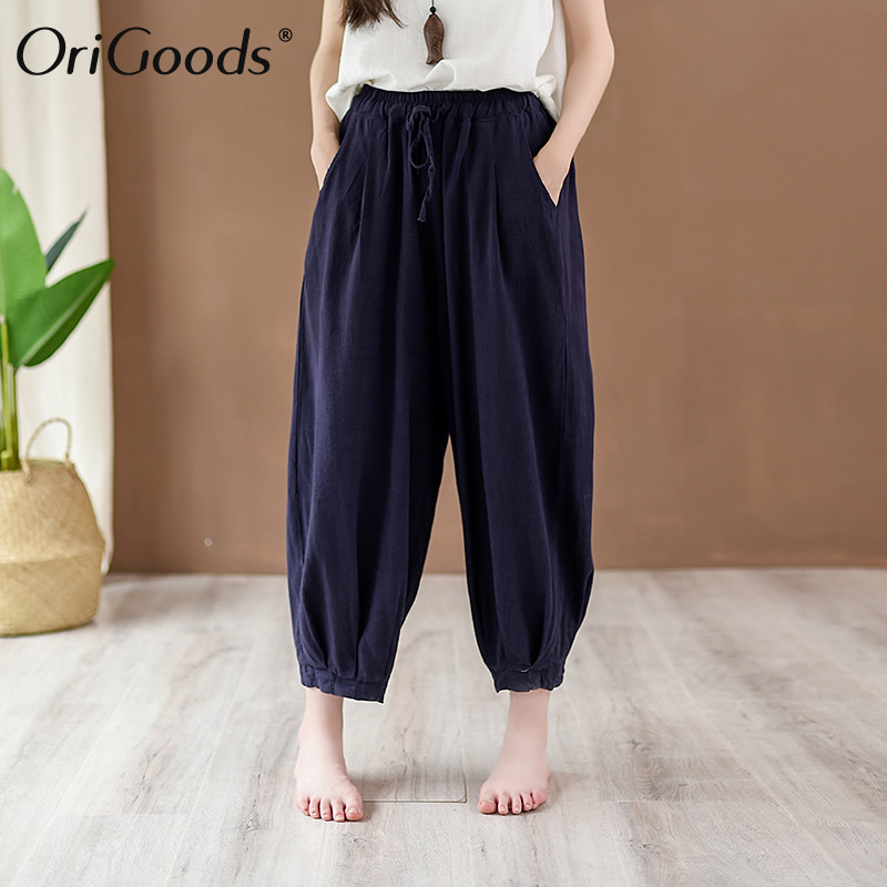 OriGoods Cotton Linen Summer   Pants   Women Elastic waist Loose Casual Harem   Pants     Capris   Summer Harem Trousers for Women 2019 C247