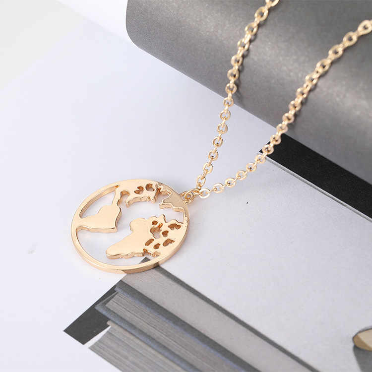 RIR World Map Necklace Globe Earth Continent Pendant Necklaces Simple  Minimalist Travel Map Globetrotter Jewelry Gap 33b92c203ada