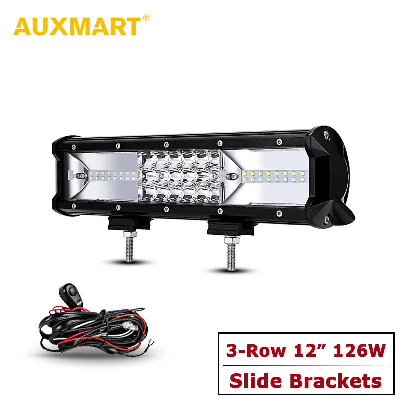 AUXMART Triple Row Led Chips 12 LED Light Bar + Slide Mount Offroad Combo Work Light for Car SUV Truck 4X4 ATV RZR Boat LED Bar auxmart triple row 22 34 42 50 curved