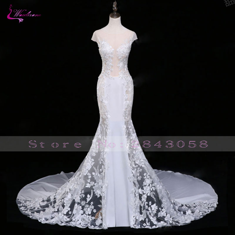 Waulizane Scoop Mermaid Wedding Dresses Unique Embroidery Appliques Chapel Train Floral Print Bridal Gowns Occasion