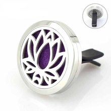 Magnetic Lotus Stainless Steel Car Aroma Perfume Locket 30mm Round Essential Oil Diffuser Lockets 5pcs