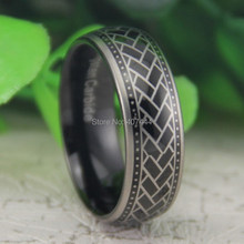 Free Shipping USA UK Canada Russia Brazil Hot Sales 8MM Black Dome Tyre Design The New New Men's Fashion Tungsten Wedding Ring(China)