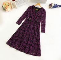 plus size XL 4XL women v neck Big yards korean fashion ladies' spring new lace dress long sleeve floral mother outfit vestido