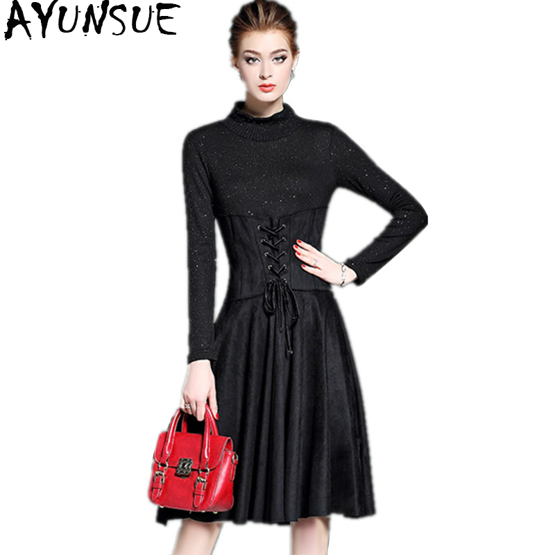 AYUNSUE 2018 Fashion Autumn Winter Dress Female Long Sleeve Dress Woman Knitted Dresses Slim Black Dress Clothes For Women new arrival 2018 autumn knitted dresses fashion women long sleeve v neck knee length dress casual solid female dress clothes