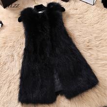 FTLZZ Natural Raccoon Fur Vest Women Casual Plus Size Vests Medium Long Genuine Fur Gilet Real