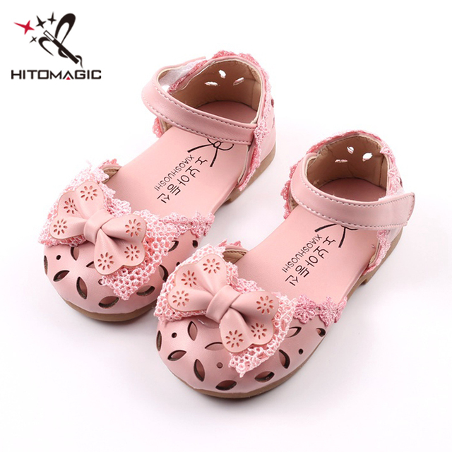 HITOMAGIC Girls Sandals Summer Kids Shoes For Girls Princess Pink New  Spring Bowtie Baby Hollow Leather Lace Wedding Footwear 45afda77b76c