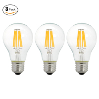 3Pcs Pack 6W 220V A19 LED Filament Light Bulb Edison Style E27 220 240V AC To