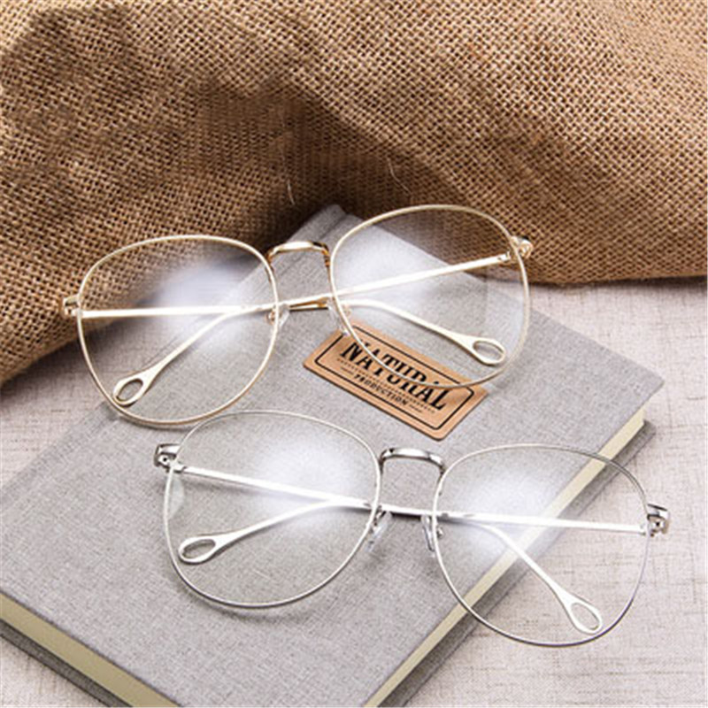 Retro Big Flat Mirror Street Shot Was Women Thin Metal Plain Transparent Glasses Spectacle Frame Clear Lenses Men Eyewear 2018