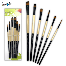 6Pcs Premium Different Shape Round Pointed Tip Watercolor Paint Brush Set for Drawing Watercolor Oil Painting Brush Art Supplies