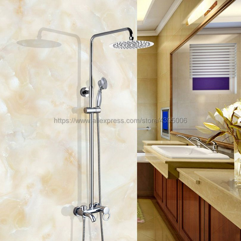 Bathroom Rainfall Shower Faucet Set Mixer Tap With Hand Sprayer Wall Mounted chrome Bcy336 poiqihy wall mounted chrome shower faucet bathroom rainfall shower set faucet tub with handheld sprayer bathroom mixer tap