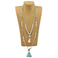 2017 New Handmade Creative Tessal Pendents Necklace Unique Boho Bohemia Long Necklaces Multy Layers Seedbeads Chain
