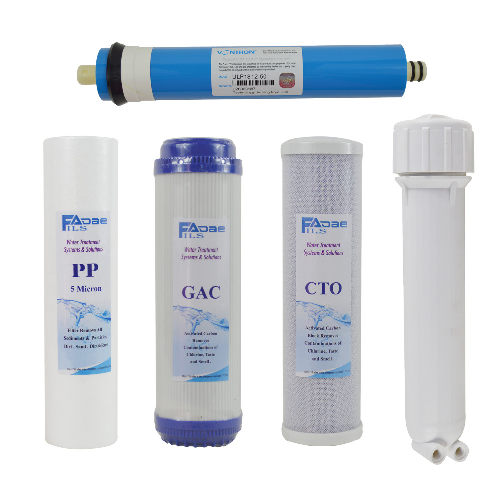 Reverse Osmosis System Spare parts 10 PP+GAC+CTO+50G Membrane Elements+Membrane Housing( 5 PACKED) 5 stage reverse osmosis system replacement filters 50gpd csm membrane element pack of 2