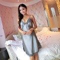 New Sexy Lingerie Women Silk Lace Robe Dress Babydoll Nightdress Nightgown Sleepwear nightgown Spaghetti Strap V-neck
