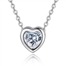 Fashion Heart Zircon Pendant Necklace For Women Dainty Clavicle Chain Jewelry