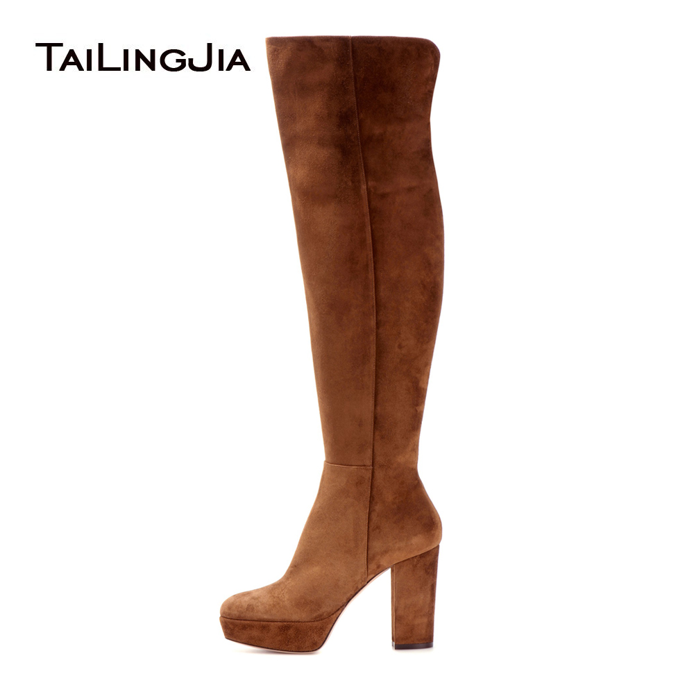 цена на Women Brown Faux Suede Platform High Heel Over the Knee High Boots Ladies Round toe Chunky Heel Long Boots with Zipper Big Size