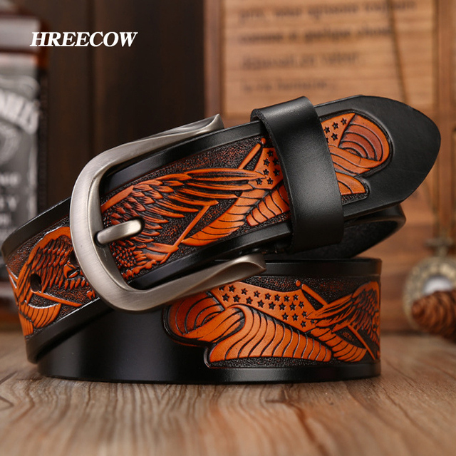 Punk Handcrafted Eagle Shells Belt Top Layer Leather Belts For Men Pin Buckle High Quality Cowhide Luxury Strap