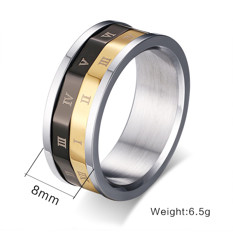 Stainless steel rotation men ring Roman numerals retro rings men vintage jewelry anel masculino anillos hombre bague