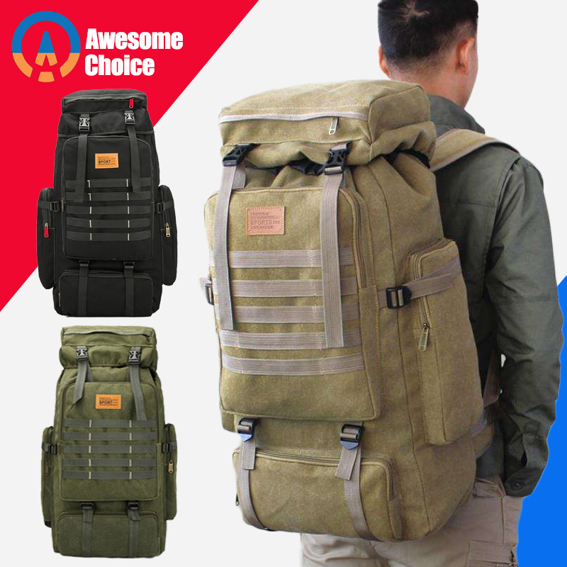 Quality Outdoor Sport Molle 3P Bag 75L Waterproof Climbing Hiking Military Tactical Backpack Bag Camping Mountaineering