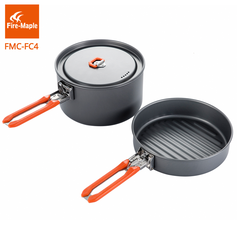 Fire Maple Outdoor Camping Hiking Pinic Hard Aluminium Alloy Cookware Cooking Picnic 1 Fry Pan 1 Pot Set Foldable Handle FMC-FC4 fire maple portable titanium flagon outdoor sake set camping wine pot with cup travel drinkware fmc 1703002 fmc 1703003