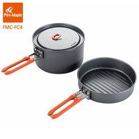 Yangın Maple Açık Kamp Yürüyüş Pinic Sert Alüminyum Alaşım Tencere pişirme Piknik 1 Fry Pan 1 Pot Set Katlanabilir Kolu FMC-FC4