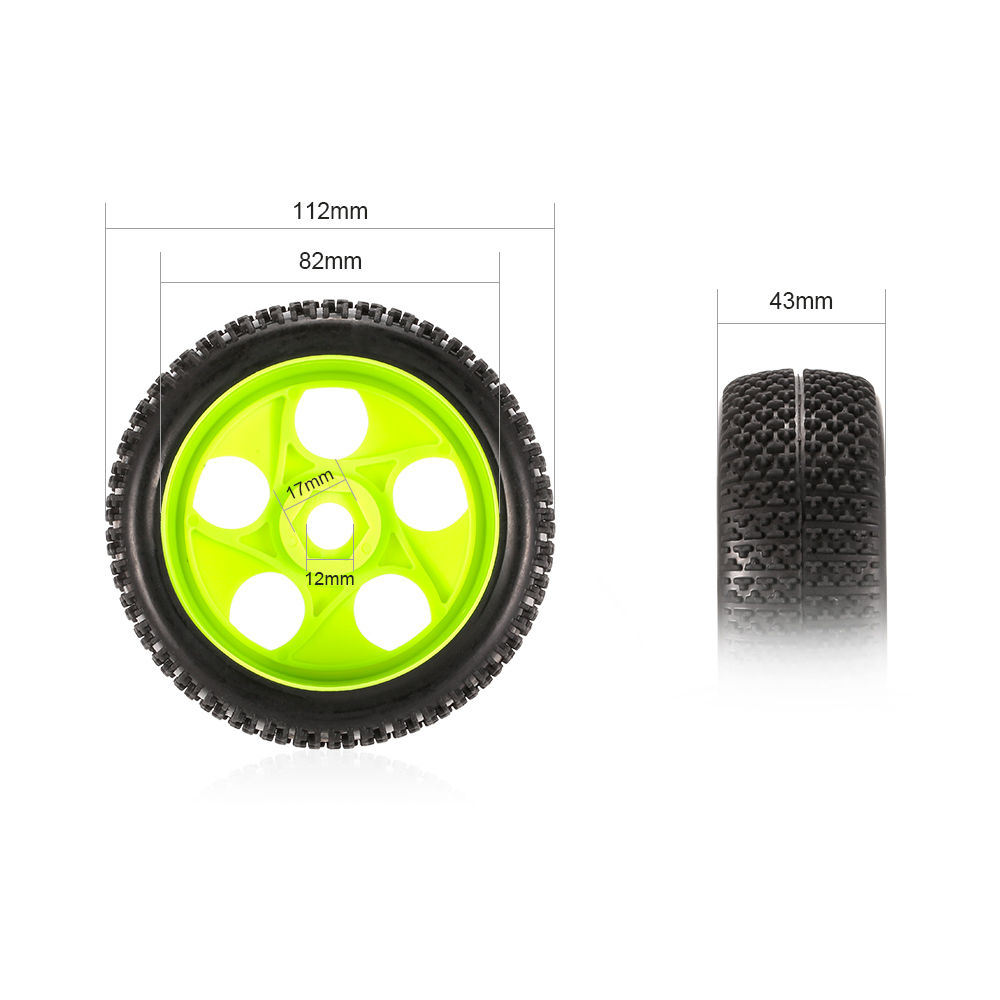 Image 3 - 4pcs High Quality 112mm Rubber Tires 17mm Hub Hex Wheel Rim for 1/8 RC Crawler Buggy Off Road Car Truck RC Toys Kid-in Parts & Accessories from Toys & Hobbies