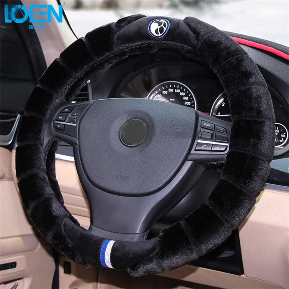 LOEN 1PC Plush fur Winter Auto car steering wheel cover keep warm for Honda chevrolet ford toyota audi bmw buick kia fit 95%