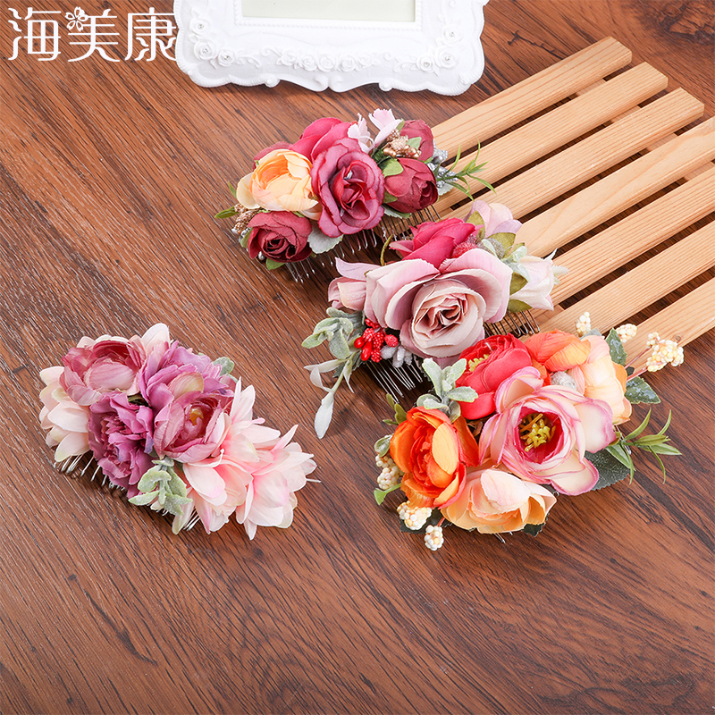 Haimeikang Fabric Rose Hair Comb Handmade Wedding Bride Hair Comb Flower Headdress Beach Wedding Hair Accessories For Women