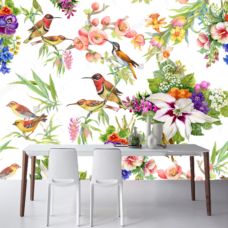 Large wallpapers, watercolor wild exotic birds on flowers, natural landscape mural for living room bedroom sofa vinyl wallpaper wild flowers
