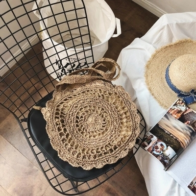 Bohemian Paper rope Straw Bags for Women Big Circle Beach Handbags Summer Vintage Rattan Bag Handmade Kintted Travel Bags 2