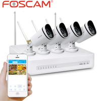 Foscam FN3104W B4 720P WiFi Security System 4 ch NVR four IP66 Camera Remote Viewing via Foscam NVR APP Supports Hard Drive