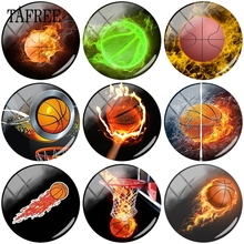 TAFREE Fire Basketball Picture Glass Cabochon Dome Beads 12- 20mm Tennis Ball Sports Cameo Pendant Settings DIY Jewelry