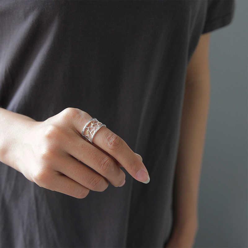 Lotus Menyenangkan Nyata 925 Sterling Silver Terbuka Cincin Perhiasan Oriental Elemen Dekorasi Jendela Potongan Kertas Desain Cincin untuk wanita