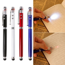 4-In-1 LED Torch Laser Pointer Touch Screen Stylus Ballpoint Pen For Tablet Laptop цена 2017