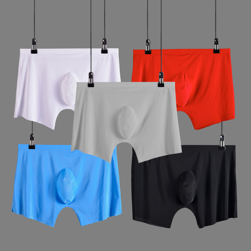 Ice Silk Seamless Mens Underwear Thin U Convex Breathable Man <font><b>Boxer</b></font> <font><b>Shorts</b></font> <font><b>Sexy</b></font> Transparent Cuecas Middle Wais Calzoncillos image