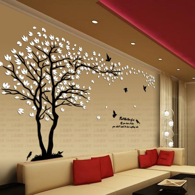 New arrival lovers tree crystal three dimensional wall stickers living room tv sofa wall acrylic
