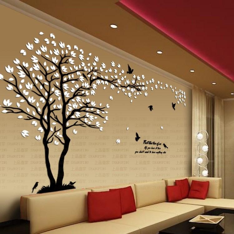 Nouvelle Amoureux d'arrivée arbre cristal en trois dimensions stickers muraux salon tv canapé mur acrylique décoration