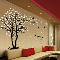 New Arrival Lovers Tree Crystal Three Dimensional Wall Stickers Living Room Tv Sofa Wall Acrylic Decoration