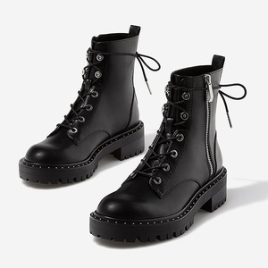 Image 1 - Boussac Lace up Rivets Martin Boots Women Round Toe Ankle Boots for Women Short Plush Winter Shoes Women Botas Mujer SWE0212