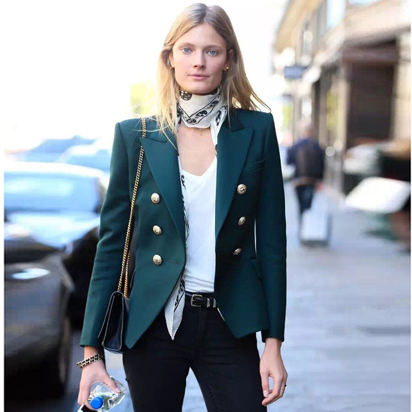 2018 Euramerican Spring Summer New Fashion Polyester Full Sleeve Atrovirens Double Breasted Notched High Street Elegant Blazer