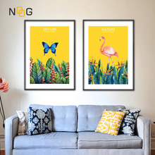 IOIOI Butterfly Flamingo Wall Art Poster Pictures Simple Posters And Prints Canvas Painting Nordic Room Decor