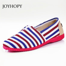 JOYHOPY Fashion New Cotton Canvas Women Flat Shoes Women's Flats Womens Casual Lazy Shoes Spring Summer Loafers Plus size 35-40