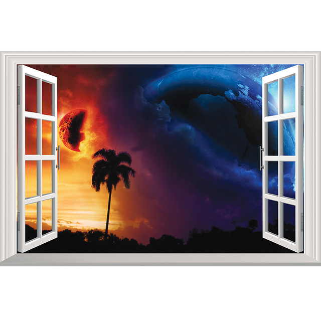 super planet great earth 3d wall sticker removable window view