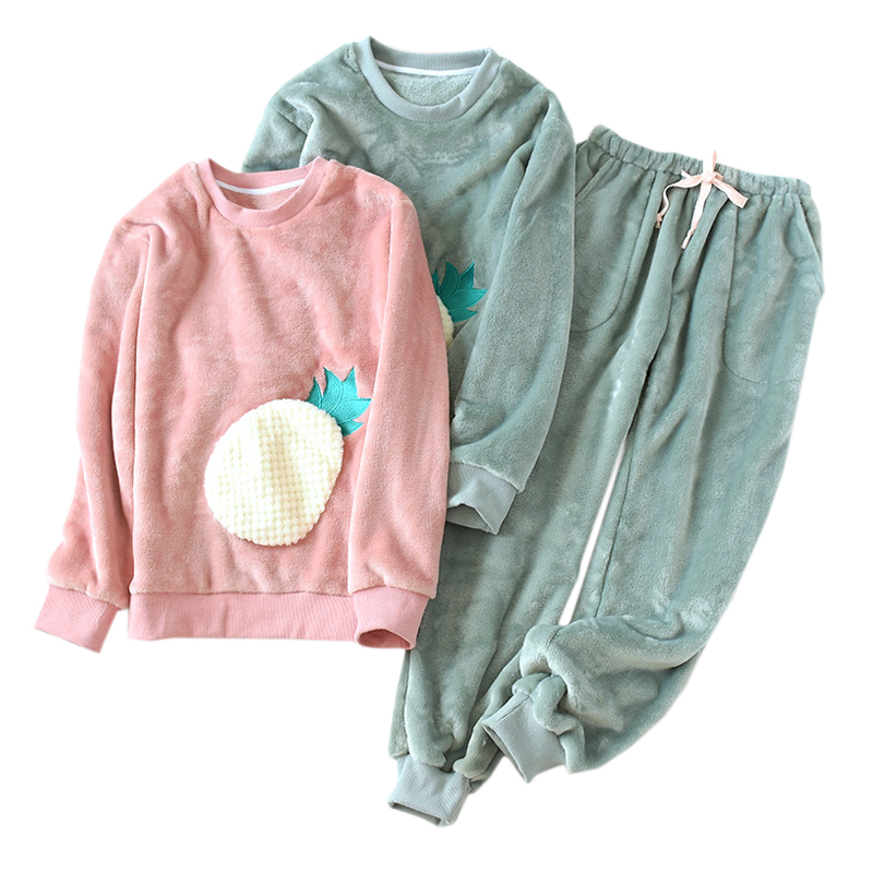 Winter Cute Pineapple Thicken Flannel Pajamas Sets Women Fashion Free Collocation Sleepwear Simple Long-sleeve Warmth Pajamas