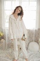 New Women S Pajamas Long Pants Set Autumn Princess Pajamas Suit White Sleepwear Cotton Nightshirt Vintage
