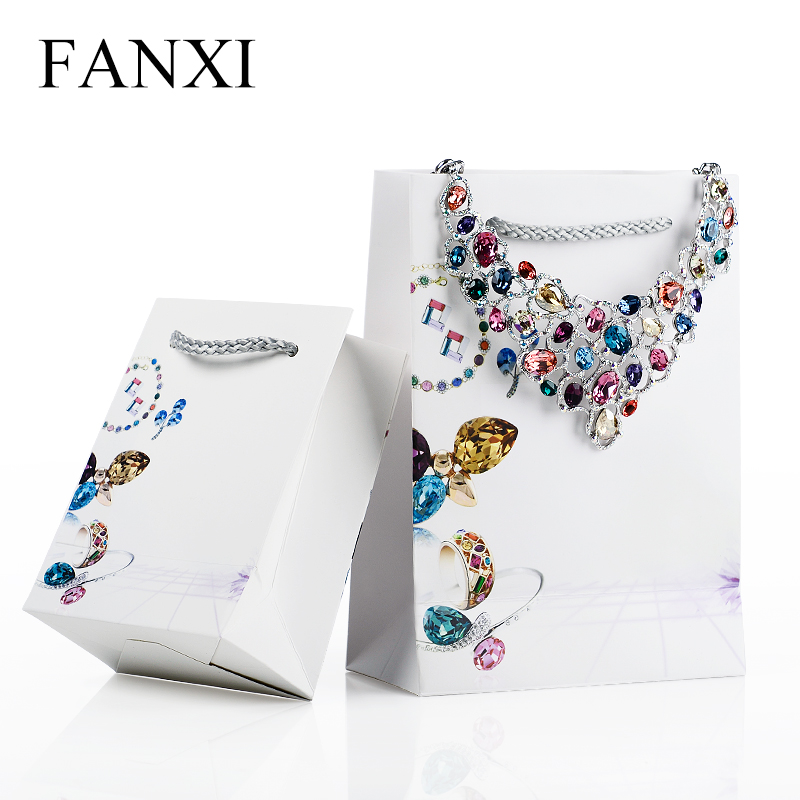 FANXI 12pcs Free Shipping White Paper Wedding Ring Necklace Bangle Tote Bags Printing Logo Organizer Jewelry Bag for Jewellry