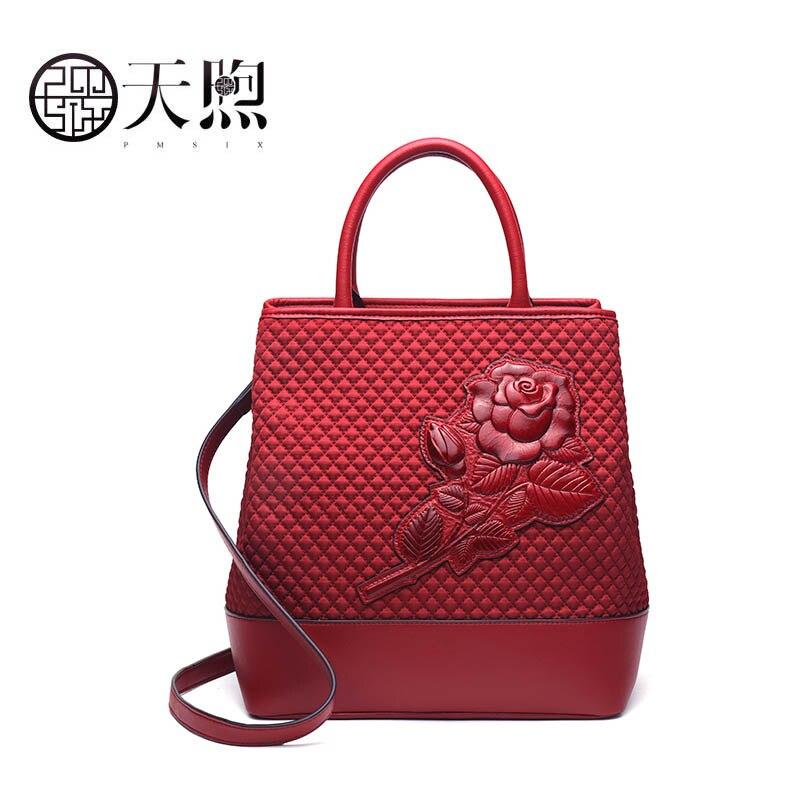 PMSIX 2019 nouveau femmes toile sac mode sacs à main femmes marques célèbres gaufrage sac fourre-tout femmes qualité sac à bandoulière